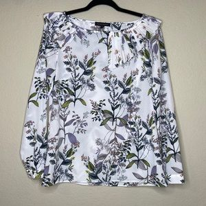 Banana Republic floral pleated neck blouse